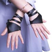 Kloud City Women PU Leather Jazz Glove Punk Heart Cutout Half Finger Performance Leather Gloves