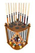 Cue Rack Only - 10 Pool - Billiard Stick & Ball Floor Rack - Holder Choose Mahogany or Oak Finish