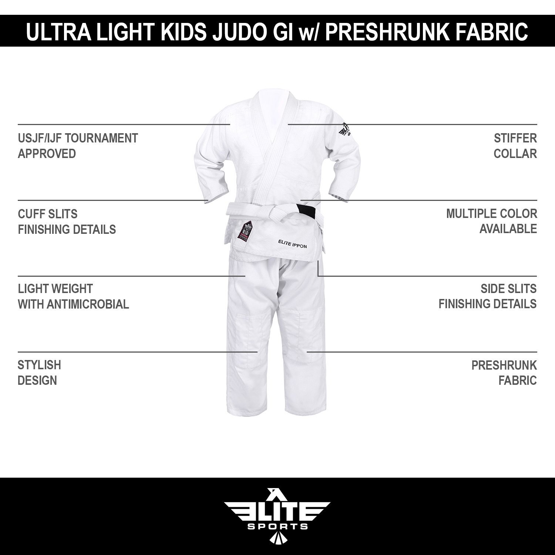 NEW ITEM Elite Sports Deluxe Kids IJF Judo Gi w/ Preshrunk Fabric & Free  Belt