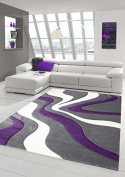 Designer living room rug Contemporary rug Rug low pile carpet with contour cutting Wave Pattern Purple Grey White size 60x110 cm