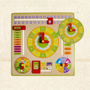 Pandaay Baby Kids Children Calendar Wooden Clock Shape Sorting Early Education Toys
