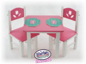 Matty's Toy Stop 46cm Doll Furniture Pink/White Wooden Table and Chairs Set with Placemats (Floral Design) - Fits American Girl Dolls