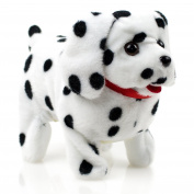 Toysery Puppy Plush Dog Black Whithe Toy Walking Barking Wagging Tail Lucky Kids Pet Toy - Battery Operated