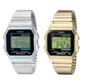 Timex Mens Digital Wrist Watch Stainless Steel Silver/gold Band With Alarm