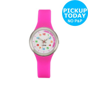 Limit Girls' White Dial Pink Silicone Strap Watch -from The Argos Shop On