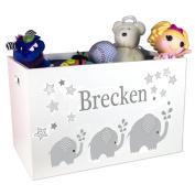 Personalised Boys Grey Elephant Toy Box