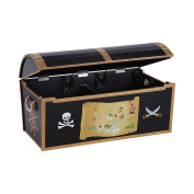 Most Popular Authentic Hand Painted Kids Wood Play Pirate Treasure Toy Chest Box Storage Organiser- Great Fun For The Little Pirate In Your Home- Real Buccaneer Look- Neat Tidy Rope Strap Safety Lid