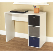 Student Writing Desk with 3 Removable Fabric Bins