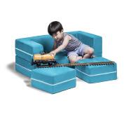 Jaxx Zipline Kids Loveseat / Fold-Out Sleeper with Machine-Washable Cover, Aqua