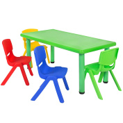 Best Choice Products Multicoloured Kids Plastic Table And 4 Chairs Set Colourful Furniture Play Fun School Home