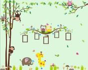 Nursery Wall Decals XL, Nursery Tree, Owl, Monkey, Elephant,Giraffe Wall Decal, Picture Frame Wall Decals XL, Nursery Owls Wall Decor, Kids Room Wall Decals