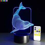 Kids Night Light Animal Dolphin 7 Colours Change with Remote Control Gifts for Kids or Animal Lover Gift Ideas by Easuntec
