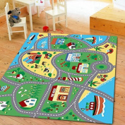 Furnish my Place City Street Map Children Learning Carpet/Kids Rugs Boy Girl Nursery/Bedroom/Playroom/Classrooms Play Mat, Rectangle, 0.9m L