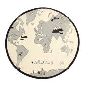 Caveen 53 InchesWorld Map Kids Rug Foldable Black and White Round Rug Child Game Mats Diameter