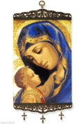 Madonna and Child Large Icon Banner with 3 crosses Tapestry Textile Art 43cm