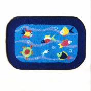 Blue Fish Rug Handmade Bath Mat Animal Rugs for Kids Washable Doormats
