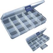 Vibola 1PCS 15 Slots Adjustable Plastic Fishing Lure Hook Tackle Box Storage Case Organiser