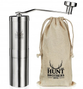 Hunt Brothers Coffee Grinder | Best Conical Burr for Precision Brewing | Upgraded Burr Piece | Top Rated Manual Coffee Mill | Aeropress Compatible, Perfect for Travelling
