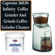 Capresso 560.04 Infinity Commercial Grade Conical Burr Coffee Grinder Bundle With Grindz Cleaner