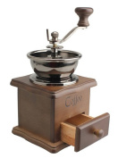 PuTwo Coffee Grinder Manual Ceramic burr Wooden Vintage Style With Catch Drawer