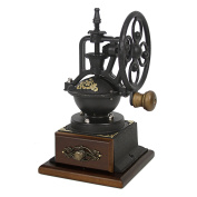 Evelyne Vintage Antique Coffee Bean Mill Windmill Wheel Hand Crank Manual Grinder Wooden Drawer