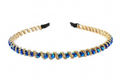 Enking Crystal Bead Headband Bling Rhinestone Hair Hoop-Royal Blue