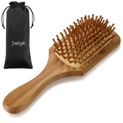 JewelryWe Natural Bamboo Paddle Hair Brush-Detangling Scalp Massage Hair Comb for All Hair Types