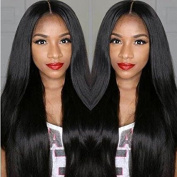 A2ZWIG Brazilian Virgin Full Lace/Lace Front Human Hair Glueless Natural Black Straight Wigs with Baby Hair for Black Women