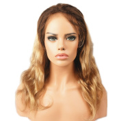 Stella Reina Balayage Ombre Human Hair Lace Front Wigs Colour #4/18 Chocolate Brown to Ash Blonde Brazilian Wavy Hair Body Wave Wig with Baby Hair for Women 46cm