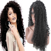 OYSRONG Black Small Wavy Long Lace Front Afro Wig For Women