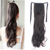 FRISTLIKE 46cm Binding Ponytail Clip in Pony Tial Hair Extensions Long Straight and Wavy Hair Piece for Girl Lady Women