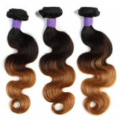 Ombre Brazilian Hair Body Wave Virgin Hair Weave Colour 1b/4#/27 100% Human Hair Extensions . 3/4 Bundles 12-70cm