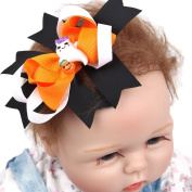 Mmrm Halloween Hair Barrette Accessories Hairclip Bows for Baby Girls Ribbon Hairpin Clip - White Ghost