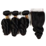 Brazilian Virgin Remy Hair Loose Wave Bundles 3 Bundles with Closure 100% Unprocessed Human Hair Extensions . Natural Colour