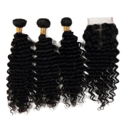 Brazilian Virgin Remy Hair Deep Wave Bundles 3 Bundles with Lace Closure 4X4 Human Hair Extensions Can Be Dyed Natural Colour