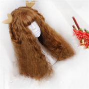 African American Women Loose Curly Lolita Synthetic Hair Brown High Temperature Fibre Rose Wigs