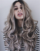 HEAHAIR Ombre Long Wavy Wigs Synthetic Lace Front Wig for Women