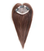 Uniwigs New Arrival 6.4cm X 1.3m Remy Human Hair Topper, Hand Made Tied Mono Hairpieces, Medium Brown Straight Topper with Natural Hairline for Hair Loss