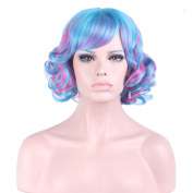 TKEKON Short Curly Full Head Multi-Colour Wigs Colourful Wavy Wigs for Cosplay Halloween Party Come with Wig Cap