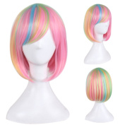 TKEKON Full Straight Short Bob Wigs Colourful Synthetic Rainbow Wigs for Cosplay Halloween Party Come with Wig Cap