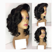 Glueless Wavy Lace Front Wig Brazilian Human Hair Short Bob Wigs with Baby Hair Natural Colour for Black Women
