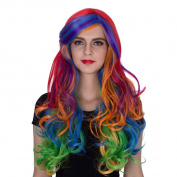 Amback Long Women's Anime Multi-Colour Curly Wavy Rainbow Hair Cosplay Party Wig +Wig Cap