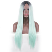 YuHe Long Straight Green Wig No Bangs Fashion Pastel Synthetic Heat Resistant Wigs for Women Girl Party Daily