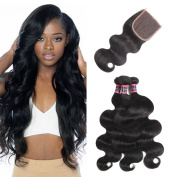 Urbeauty Hair Brazilian Virgin Hair 3 Bundles with Closure Unprocessed 100% Human Hair Weave with Lace Closure Free Part Brazilian Body Wave Natural Colour 16 18 20 with 14