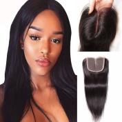 YUSHUO Beauty Brazilian Stright Lace Closure 10cm x 10cm Middle Part 100% Virgin Human Hair Natural Black