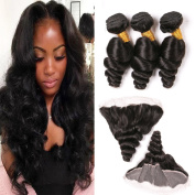 Loose Wave Brazilian Hair Ear To Ear Closure with 3 Bundles Remy Loose Deep Lace Front and Bundle 100 Grammes Natural Virgin Human Hair Extensions 20 22 24 + 46cm Frontals