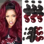 Mink Hair 8A Two Tone Ombre Bundles (16 18 20) Unprocessed Virgin Brazilian Ombre Burgundy Body Wave Human Hair Extensions 1B-99J Colour