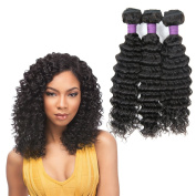 Brazilian Deep Wave Hair 3 Bundles 100% Unprocessed Virgin Human Hair Extensions Natural Black Colour by Zing Silky