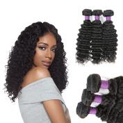 7a Grade Brazilian Virgin Hair Deep Wave Human Hair Extensions 3 Bundles Natural Black Colour
