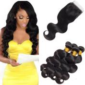 8A Brazilian Virgin Hair Body Wave 100% Unprocessed Brazilian Hair Bundle with Closure Free Part 10cm x 10cm Lace Closure Human Hair Weave